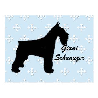 Giant Schnauzer ~ Blue w/White Diamond Design Postcard