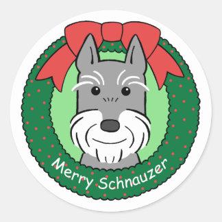 Giant Schnauzer Christmas Classic Round Sticker