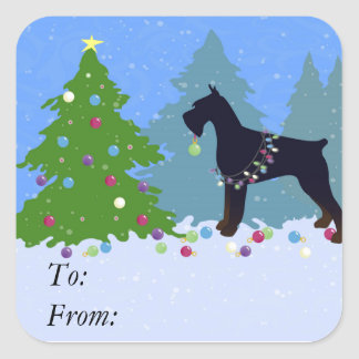 Giant Schnauzer Christmas Forest Square Sticker