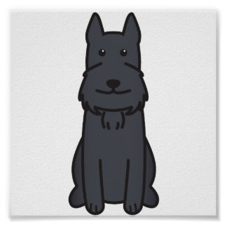 Giant Schnauzer Dog Cartoon Poster