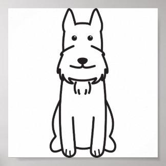 Giant Schnauzer Dog Cartoon Print