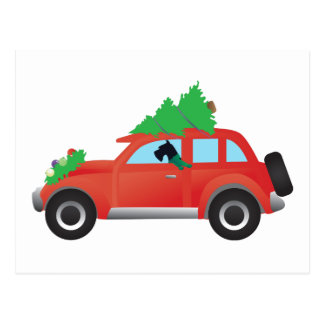 Giant Schnauzer Driving Car with Christmas tree Postcard