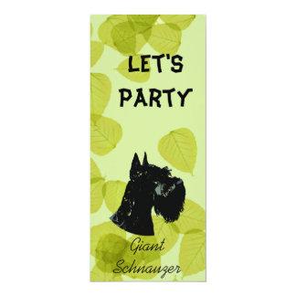 Giant Schnauzer ~ Green Leaves Design 4x9.25 Paper Invitation Card