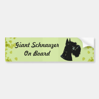 Giant Schnauzer Green Leaves Design Bumper Stickers