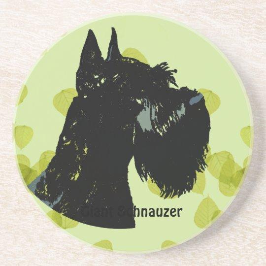 Giant Schnauzer ~ Green Leaves Design Coaster