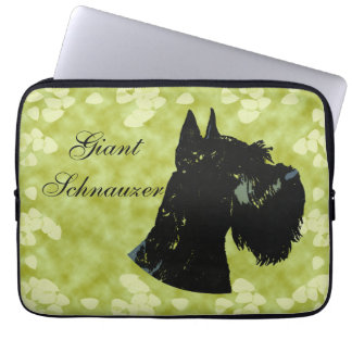 Giant Schnauzer ~ Green Leaves Design Laptop Computer Sleeves