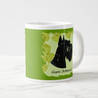 Giant Schnauzer ~ Green Leaves Design Large Coffee Mug