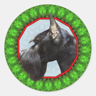 Giant Schnauzer Happy Howliday Round Sticker