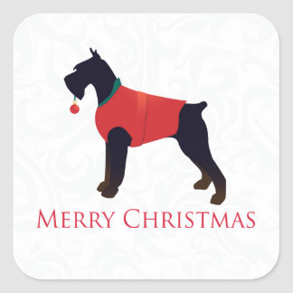 Giant Schnauzer Merry Christmas Design Square Sticker