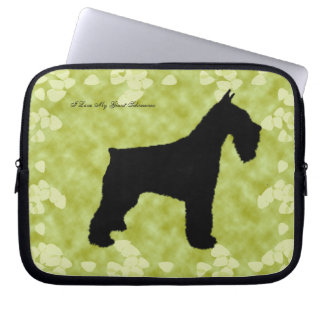 Giant Schnauzer on Green Leaves Computer Sleeve