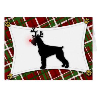 Giant Schnauzer Reindeer Christmas Card