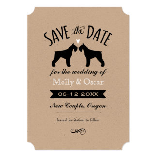 Giant Schnauzer Silhouettes Wedding Save the Date Card