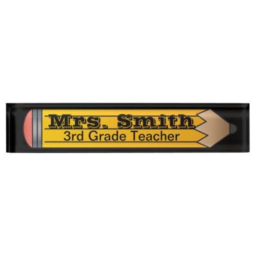 Giant School Pencil Teacher Desk Name Plates Zazzle