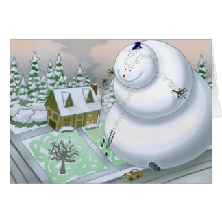 Giant Snowman Note Card (Blank Inside)