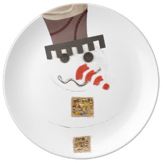 Giant Snowman Porcelain Plate