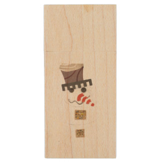 Giant Snowman Wooden Pendrive Wood Flash Drive