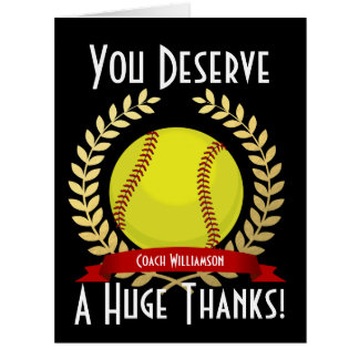 Giant Softball Coach Thank You Black Card