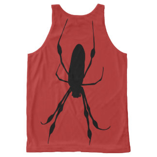 Giant spider back giant web front black on red All-Over print tank top