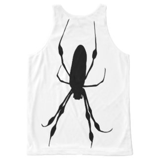Giant spider back giant web front black on white All-Over print tank top
