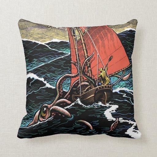 Giant Squid Throw Pillow