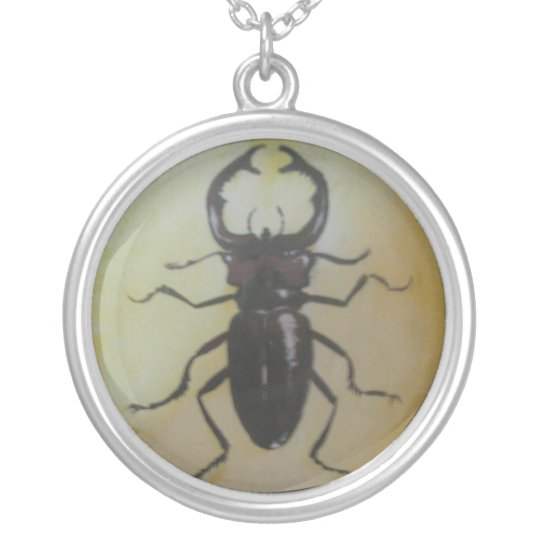 Giant Stag Beetle Silver Plated Necklace