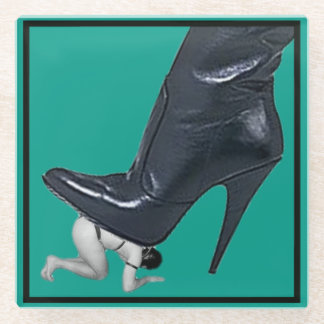 Giant Stiletto Boot Stepping on a slave Glass Coaster