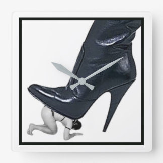 Giant Stiletto Boot Stepping on a slave Square Wall Clock