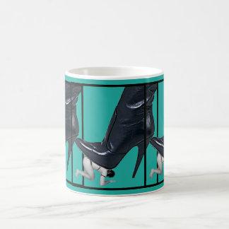 Giant Stiletto Boot Steps on a slave Coffee Mug