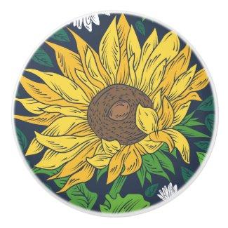 Giant Sunflower Art Ceramic Knob