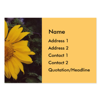 Giant Sunflower with Bee, Green Pine Tree Branches Business Card Template
