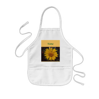 Giant Sunflower with Bee, Green Pine Tree Branches Kids' Apron