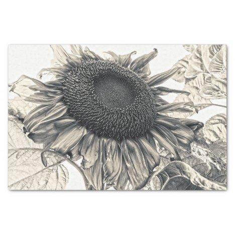 Giant Sunflowers Vintage Sepia Decoupage Art Tissue Paper