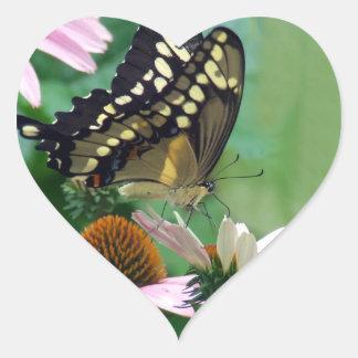 Giant Swallowtail Butterfly on Flowers Heart Sticker
