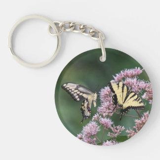 Giant Swallowtail & Eastern Tiger Swallowtail Single-Sided Round Acrylic Keychain