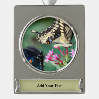 Giant Swallowtail Papilio Cresphontes Silver Plated Banner Ornament