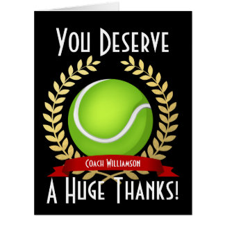 Giant Tennis Coach Thank You Black Card