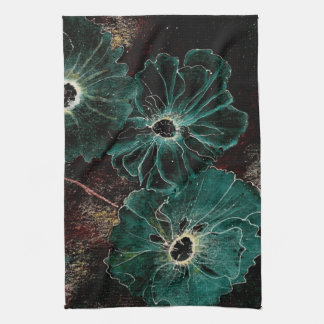 Giant Vintage Art Deco Flowers in Aqua Kitchen Towel