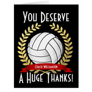Giant Volleyball Coach Thank You Card