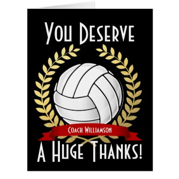 Beach Themed Giant Volleyball Coach Thank You Card