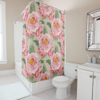 Giant Watercolor Flower Pattern on Toasted Almond Shower Curtain