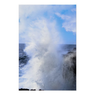 giant wave crashing on cliffs poster