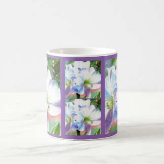 Giant White Flower with Purple and Blue Highlights Coffee Mug