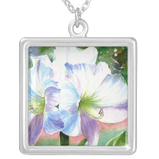 Giant White Flower with Purple and Blue Highlights Square Pendant Necklace