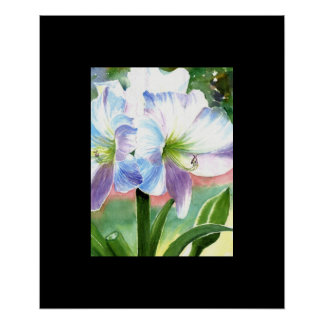Giant White Flower with Purple and Blue Highlights Poster