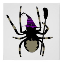 giant witch spider halloween poster