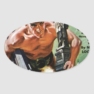 Giant with a Copper Hat Oval Sticker