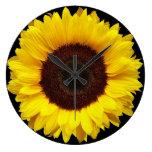 Giant Yellow Garden Sunflower on Black Background Large Clock