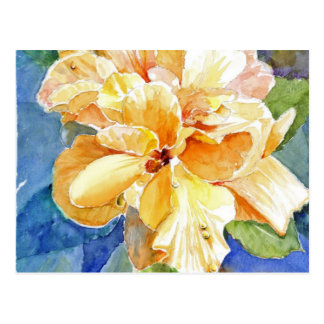 Giant Yellow Gardenia on Blue Background Postcard