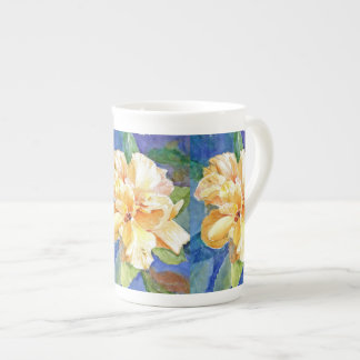 Giant Yellow Gardenia on Blue Background Tea Cup