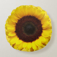 Giant Yellow Sunflower Round Pillow